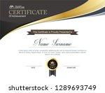 vector certificate template | Shutterstock .eps vector #1289693749