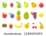set of fruit icons. isolated on ...   Shutterstock . vector #1289695393