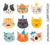 cute cats faces. hand drawn... | Shutterstock .eps vector #1289709223