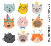 cute cats faces. hand drawn... | Shutterstock .eps vector #1289709226