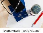 passport on declaration card...   Shutterstock . vector #1289732689