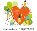 happy valentine's day. people... | Shutterstock .eps vector #1289733370