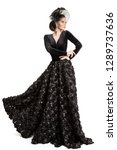 fashion model long black dress  ... | Shutterstock . vector #1289737636
