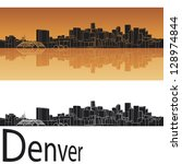 Denver skyline in orange background in editable vector file - stock vector