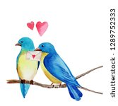 two blue birds in love  sitting ... | Shutterstock . vector #1289752333