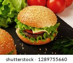 close up of home made burgers... | Shutterstock . vector #1289755660