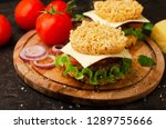 burger with ramen  salad and... | Shutterstock . vector #1289755666