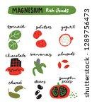 magnesium foods. vector... | Shutterstock .eps vector #1289756473