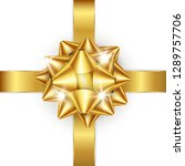 golden bow and ribbon. element... | Shutterstock .eps vector #1289757706