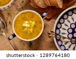 sorrel soup in a vintage bowl... | Shutterstock . vector #1289764180