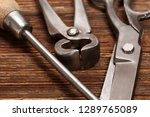 vintage old hand tools on... | Shutterstock . vector #1289765089