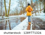 woman walking by city park... | Shutterstock . vector #1289771326