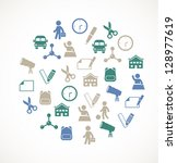 school icons | Shutterstock .eps vector #128977619