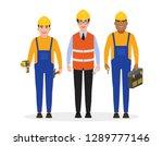 male builders dressed in work...   Shutterstock .eps vector #1289777146