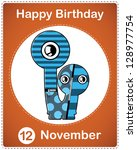happy birthday card with cute... | Shutterstock .eps vector #128977754