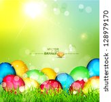 vector painted easter eggs... | Shutterstock .eps vector #128979170