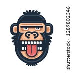 monkey showing tongue... | Shutterstock .eps vector #1289802346