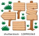 wooden signboard theme image 2  ... | Shutterstock .eps vector #128981063