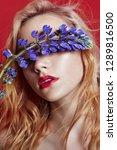portrait blonde woman with... | Shutterstock . vector #1289816500