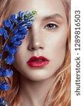 portrait blonde woman with... | Shutterstock . vector #1289816503