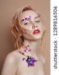 portrait blonde woman with... | Shutterstock . vector #1289816506