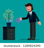 businessman watering a money...   Shutterstock .eps vector #1289824390