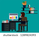 businessman working at the...   Shutterstock .eps vector #1289824393