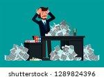 businessman panics ghost heaps...   Shutterstock .eps vector #1289824396