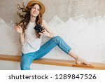 young pretty smiling woman... | Shutterstock . vector #1289847526