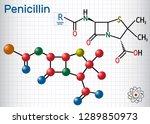 general formula of penicillin ... | Shutterstock .eps vector #1289850973