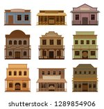 Flat vector set of wooden western houses. Old saloons with swinging doors and blank signboards. Historical buildings - stock vector