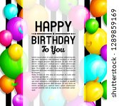 happy birthday greeting card.... | Shutterstock .eps vector #1289859169
