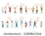 people protest. male female... | Shutterstock .eps vector #1289861566