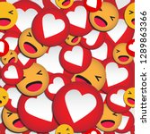 emoji seamless pattern with... | Shutterstock .eps vector #1289863366