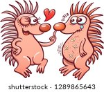 female hedgehog trying to... | Shutterstock .eps vector #1289865643