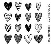 set of hand drawn vector hearts ... | Shutterstock .eps vector #1289870710