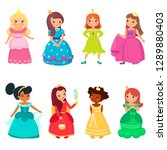 little princesses in colorful... | Shutterstock .eps vector #1289880403
