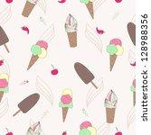 ice cream seamless pattern | Shutterstock .eps vector #128988356