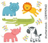 cute jungle animals collection | Shutterstock .eps vector #128990960