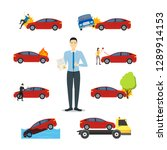 cartoon car insurance signs... | Shutterstock .eps vector #1289914153