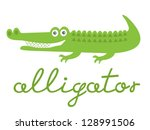 Illustration Of Cute Alligator...