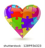 colorful vector puzzle heart | Shutterstock .eps vector #1289936323