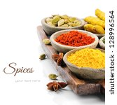 colorful mix of spices isolated ... | Shutterstock . vector #128996564