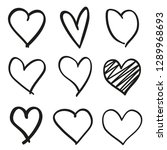 hand drawn grunge hearts on... | Shutterstock . vector #1289968693