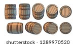 set of wooden barrels in... | Shutterstock .eps vector #1289970520