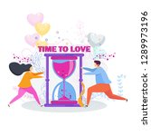 time to love. a loving couple...   Shutterstock .eps vector #1289973196