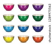 vector bowl set colorful | Shutterstock .eps vector #1289975563