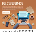 blogging concept. writing story ... | Shutterstock .eps vector #1289992729