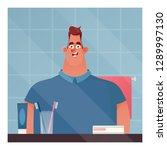 funny character. smiling man... | Shutterstock .eps vector #1289997130