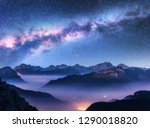 Milky Way Above Mountains In...
